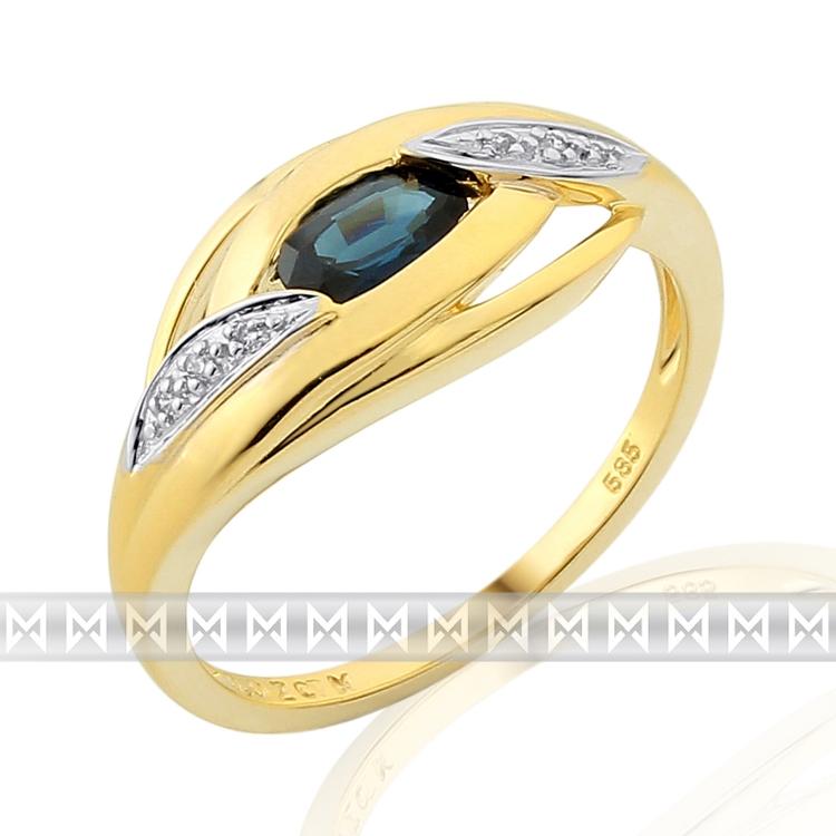 Prsten s diamantem, žluté zlato briliant, safír v kombinaci bílé zlato, v prove POŠTOVNÉ ZDARMA! (3811918)
