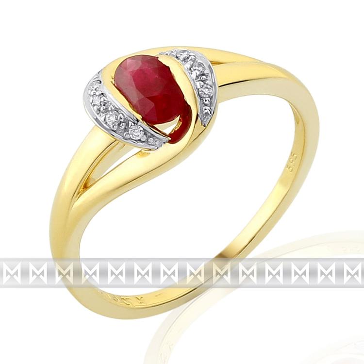 Zásnubní prsten s diamantem, žluté zlato briliant, rubín v kombinaci bílé zlato POŠTOVNÉ ZDARMA! (3811933)