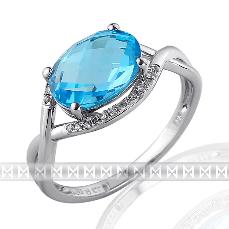 Luxusní prsten s diamantem, bílé zlato briliant, moh. modrý topaz (blue topaz) POŠTOVNÉ ZDARMA! (3862027)