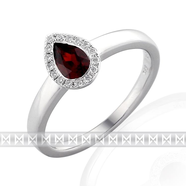 Prsten s diamantem, bílé zlato briliant, granát 3861709 POŠTOVNÉ ZDARMA! (3861709)