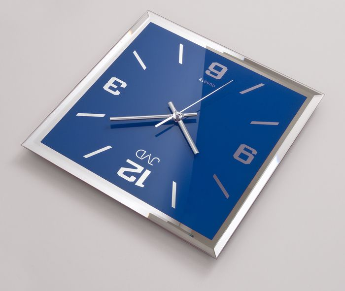 Skleněné modré nástěnné hodiny JVD N26113.7