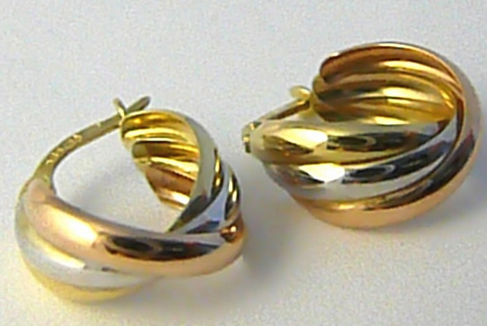 Mohutné velké zlaté kruhy z trojího zlata 585/1,76gr H618