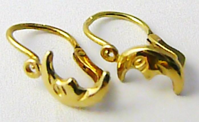 Dívčí dětské zlaté náušnice s motivem půlměsíce 585/1,25gr T193