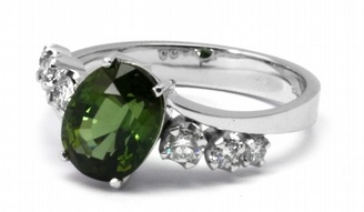 Luxusní diamantový zásnubní prsten s diamanty a turmalínem 585/3,52gr J-20567-11 POŠTOVNÉ ZDARMA!