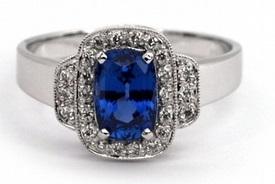 Luxusní velký diamantový zásnubní prsten se safírem(1,598ct) a diamanty J-19843-