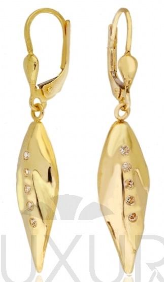 Luxusní visací zlaté náušnice se zrikony 585/2,32 gr P558 POŠTOVNÉ ZDARMA! (1131272)
