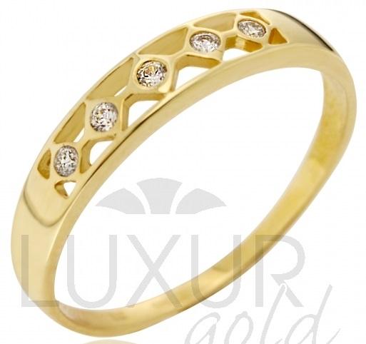 Dámský moderní zlatý prstýnek se zirkony vel. 58 585/1,57 gr P573 POŠTOVNÉ ZDARMA! (3510208)