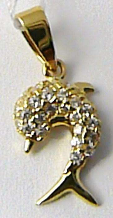 Zlatý přívěsek - zlatý delfín pro štěstí posetý zirkony 585/0,80 gr H621