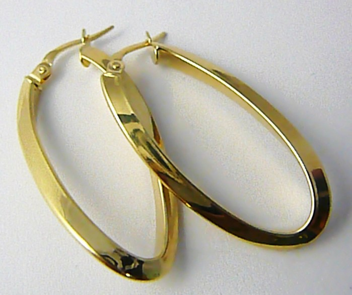 Dámské velké mohutné zlaté kruhy (ovály) lesklé 4cm 585/2,52gr H626 POŠTOVNÉ ZDARMA! (POŠTOVNÉ ZDARMA!!!!)