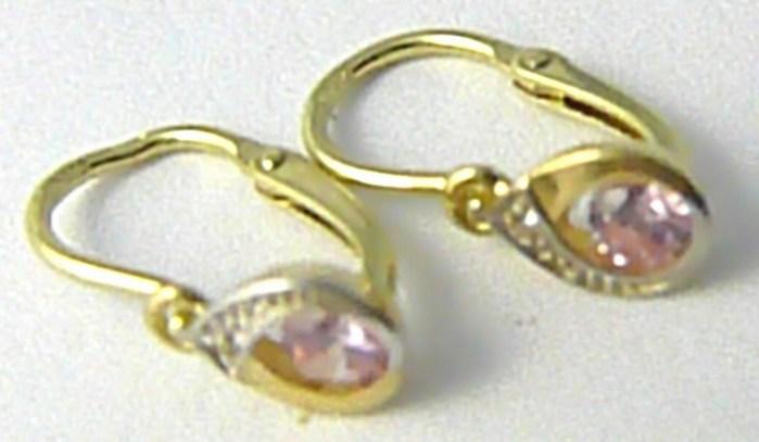 Dětské zlaté náušnice s růženíny ze žlutého zlata 585/0,87 gr P575