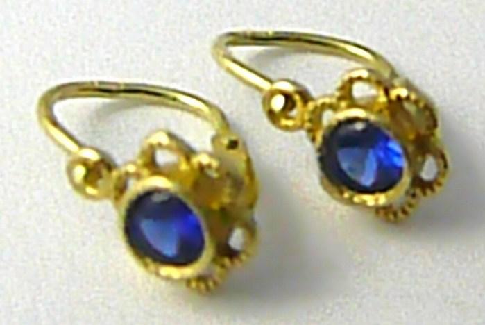 Dětské zlaté náušnice s modrými safíry žlutého zlata 585/0,90 gr P576