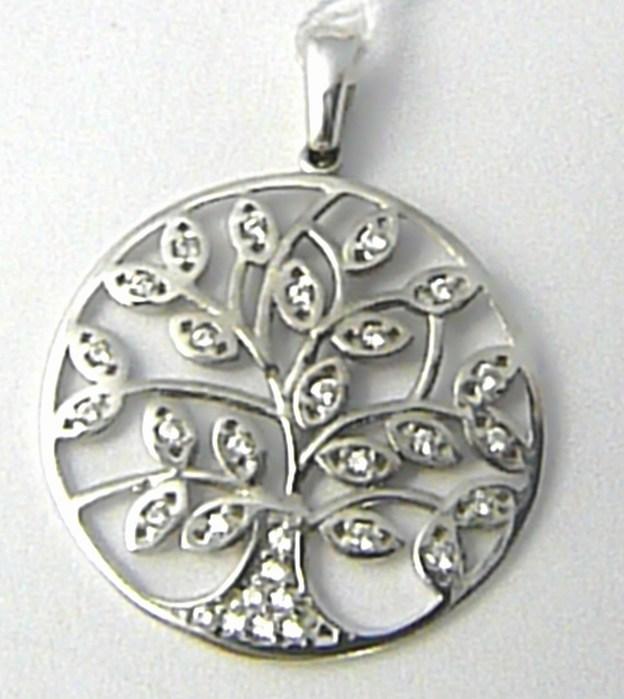 Zlatý přívěsek v bílém zlatě poseté zirkony strom života 585/2,02 gr H629