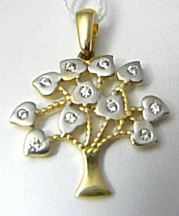 Velký přívěsek z bílého a žlutého zlata - strom života 585/1,09gr H630