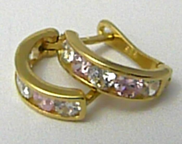 Dámské zlaté čtvrtkroužky s růženíny a zirkony 585/1,19 gr H631