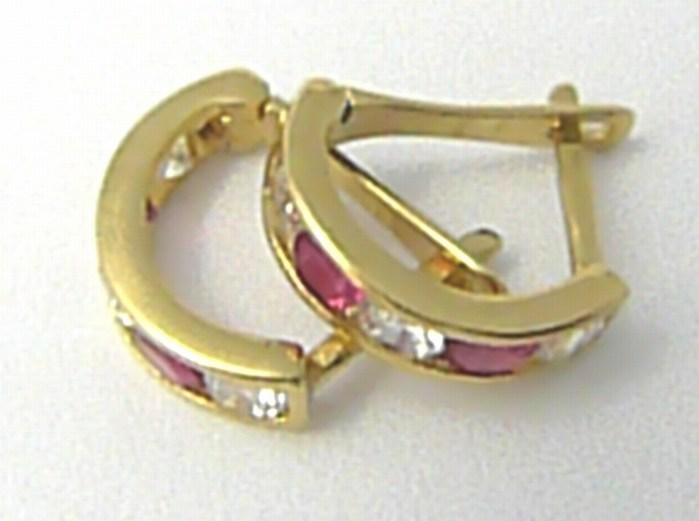 Dívčí zlaté čtvrtkroužky náušnice s červenými rubíny a zirkony 585/0,85 gr H633