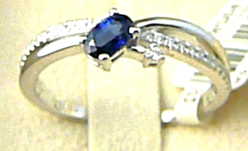 Diamantový zásnubní prsten s velkým modrým safírem 585/3,0g vel. 56 P582 SKLADEM POŠTOVNÉ ZDARMA!