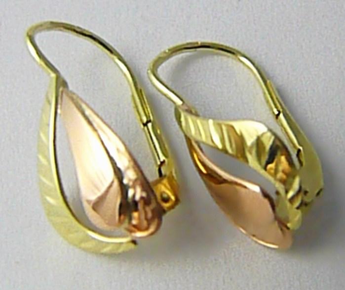 Velké dámské zlaté náušnice z dvojího zlata 585/1,71gr Z119 POŠTOVNÉ ZDARMA! (231040856)