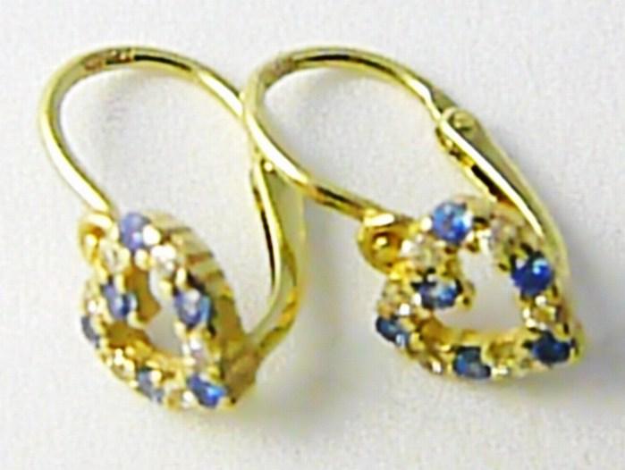 Dětské zlaté náušnice se zirkony a modrými topazy 585/1,02gr P601 POŠTOVNÉ ZDARMA!