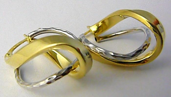 Dámské mohutné zlaté gravírované náušnice (bílé a žluté AU) 585/2,57gr P604 POŠTOVNÉ ZDARMA! (1431503)