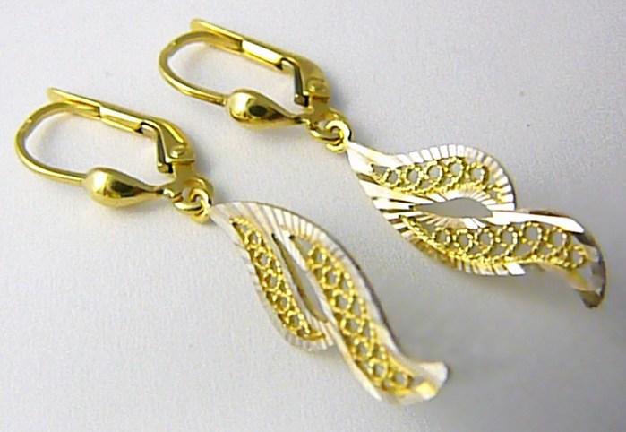 Visací zlaté náušnice z bílého a žlutého zlata s gravírováním 585/2,10gr P606 POŠTOVNÉ ZDARMA! (1430927)