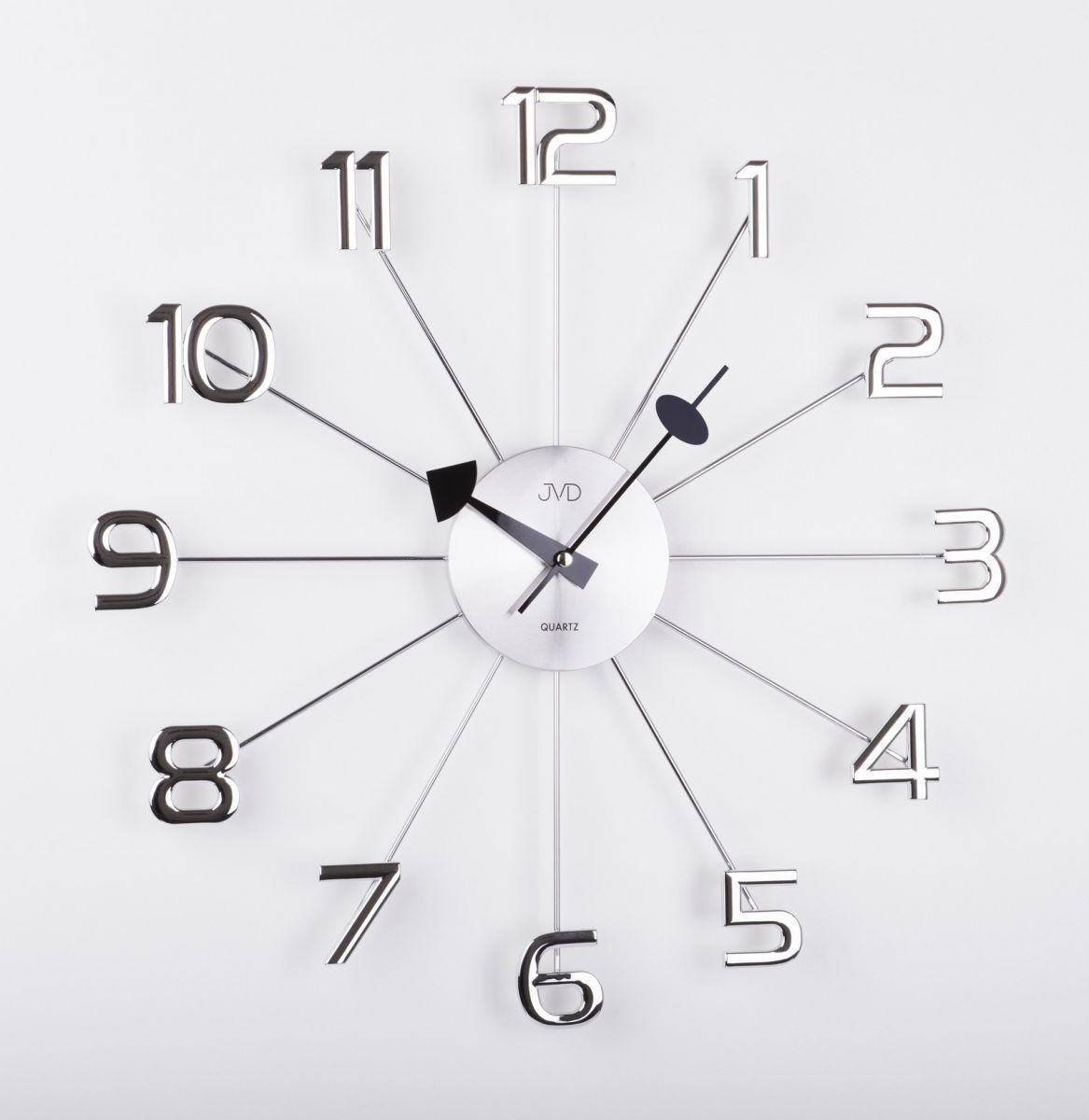 Luxusní paprskovité kovové nástěnné stříbrné hodiny JVD HT072 s číslicemi (POŠTOVNÉ ZDARMA!!)