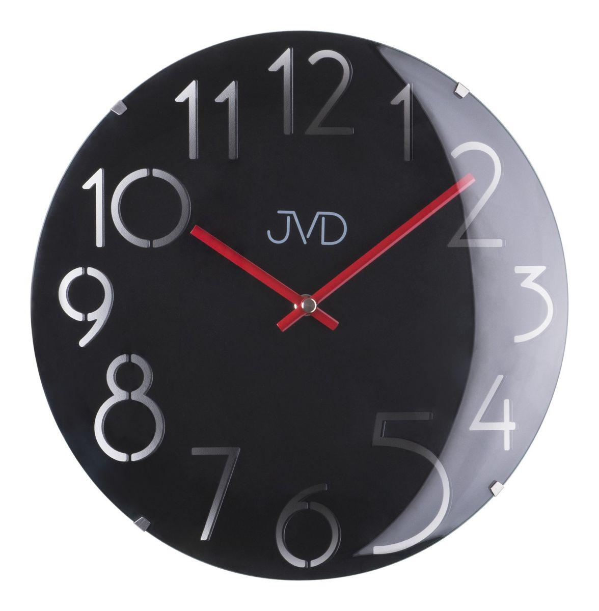 Designové černé dřevěné skleněné hodiny JVD HT076.2