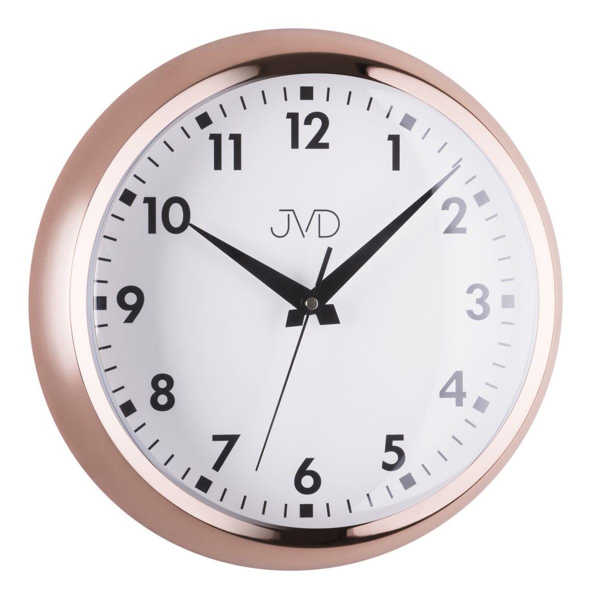 Designové chromové kovové hodiny JVD HT077.1 (barva růžového zlata)