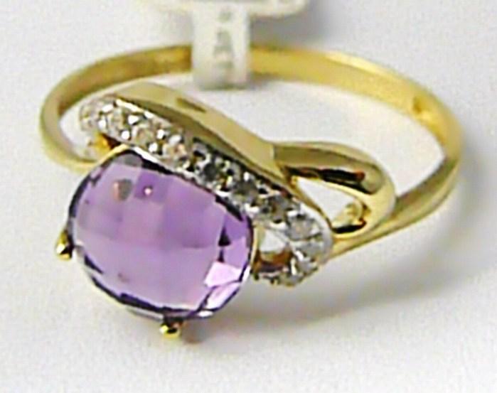 Mohutný velký zlatý prsten s ametystem a zirkony 585/2,37gr vel.60 P618 POŠTOVNÉ ZDARMA! (1410453 POŠTOVNÉ ZDARMA)