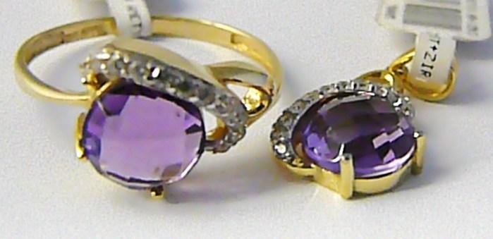 Mohutný zlatá souprava s ametysty a zirkony (prsten + přívěs) 585/3,82gr P619 POŠTOVNÉ ZDARMA! (1420690)