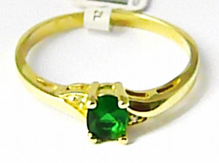 df1c65c25 Zásnubní zlatý prsten se zeleným smaragdem a zirkony 585/1,70gr vel. 56