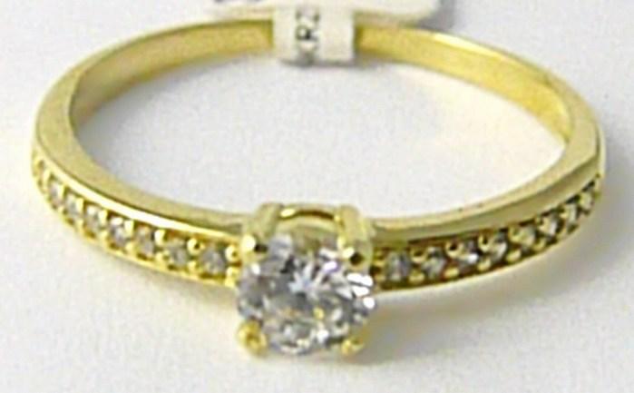 Zásnubní zlatý prsten posetý mnoha zirkony 585/1,60gr vel. 54 P625 POŠTOVNÉ ZDARMA! (3510220)