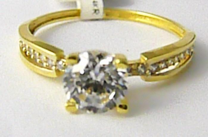Zásnubní zlatý prstýnek s velkým zirkonem 585/1,57gr vel. 55 P626 POŠTOVNÉ ZDARMA!