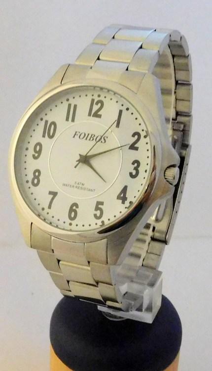 Pánské čitelné voděodolné ocelové hodinky Foibos 3883.3 - 5ATM (bílý  ciferník) ce96dc21fb1