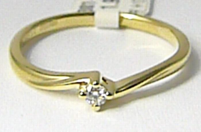 Zásnubní diamantový prstýnek ze žlutého AU 0,05ct vel.55 P635 SKLADEM!!! POŠTOVNÉ ZDARMA! (3810379)