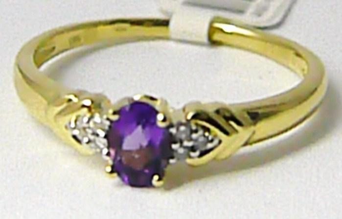 Diamantový zlatý prsten s pravým ametystem 585/2,10 gr vel.56 P636 SKLADEM!! POŠTOVNÉ ZDARMA! (