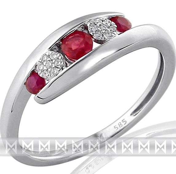 Diamantový zlatý prsten z bílého AU s pravými rubíny 3x0,29ct V58 585/2,3gr 3861 (3861968 - POŠTOVNÉ ZDARMA!!)