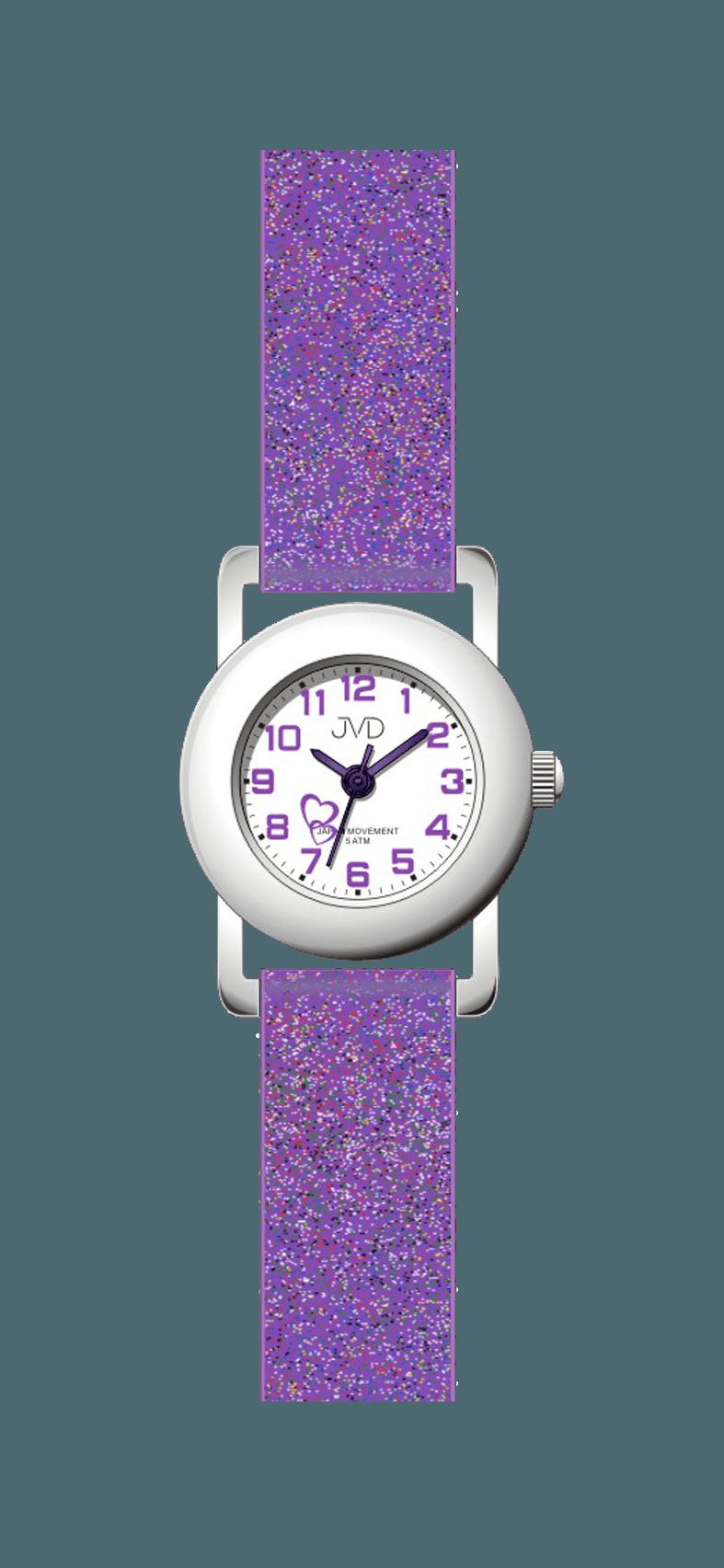 Dětské fialkové náramkové hodinky JVD basic J7025.5 se srdíčkem