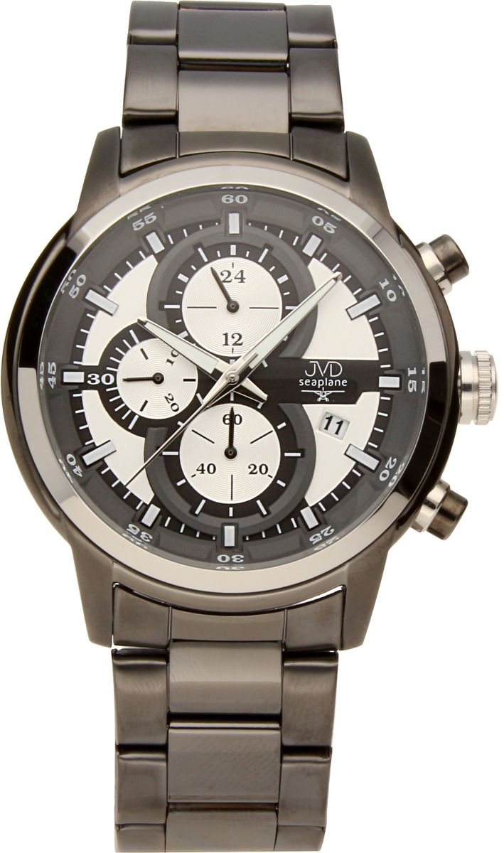 Vysoce odolné černé vodotěsné chronografy hodinky JVD seaplane JC667.3 10ATM POŠTOVNÉ ZDARMA!! (POŠTOVNÉ ZDARMA!!)