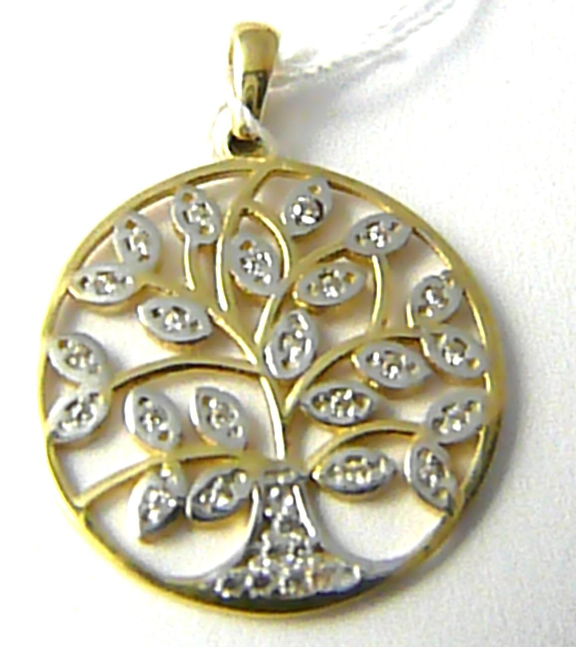 Zlatý přívěsek s gravírováním bílé a žluté zlato strom života 585/2,17gr H636