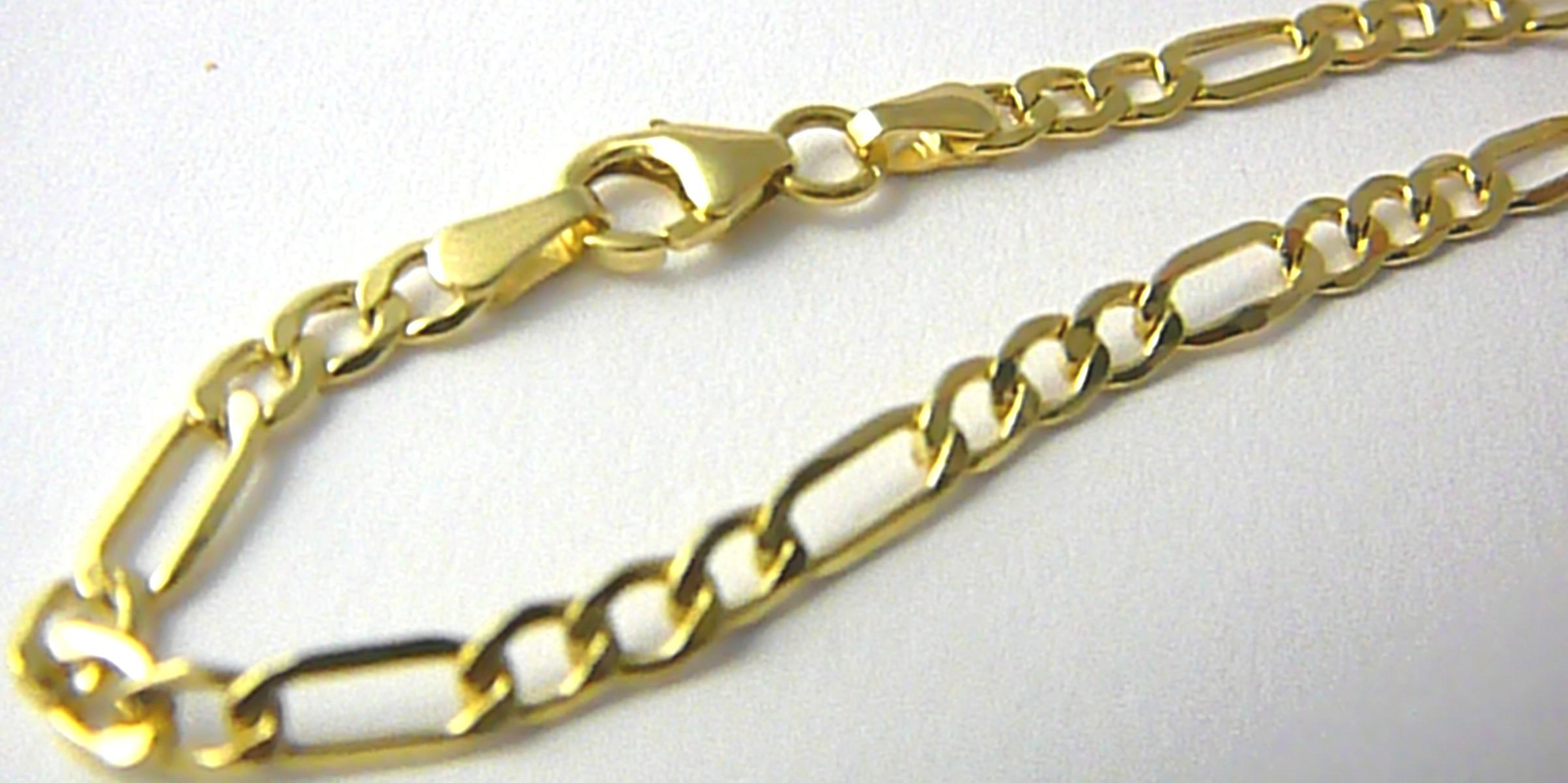 Mohutný zlatý pánský náramek FIGARO 21,5cm 585/1,78gr H638 POŠTOVNÉ ZDARMA!! (POŠTOVNÉ ZDARMA)