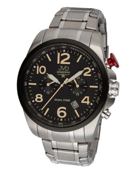 Pánské ocelové vodotěsné hodinky JVD W88.2 Seaplane Dual Time dva světové ĝasy POŠTOVNÉ ZDARMA!! (POŠTOVNÉ ZDARMA!!)