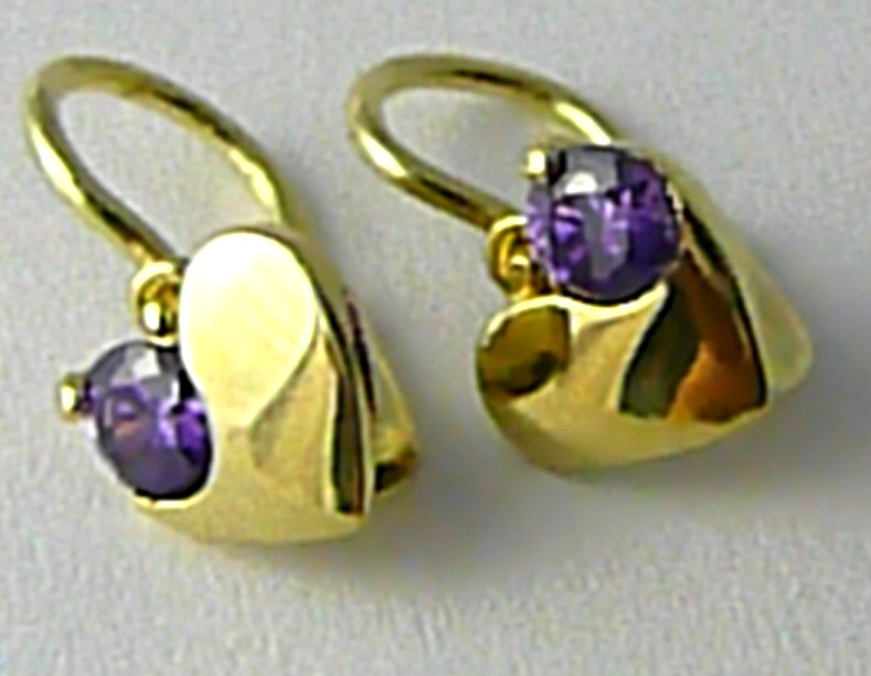 Dětské zlaté náušničky s fialovými ametysty srdíčka 585/1,17gr P658 POŠTOVNÉ ZDARMA!!