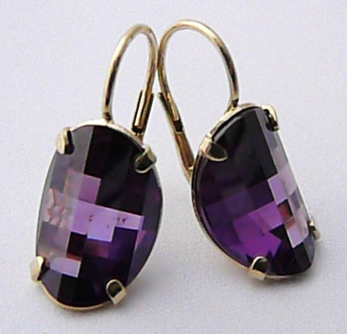Mohutné zlaté náušnice s velkým fialovým ametystem 585/5,45gr 236040944
