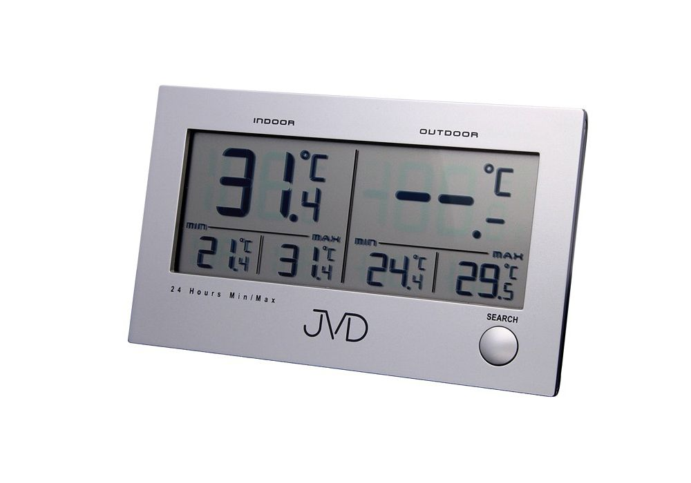 Digitální teploměr JVD T29 s venkovním čidlem a měřením vnitřní/venkovní teploty