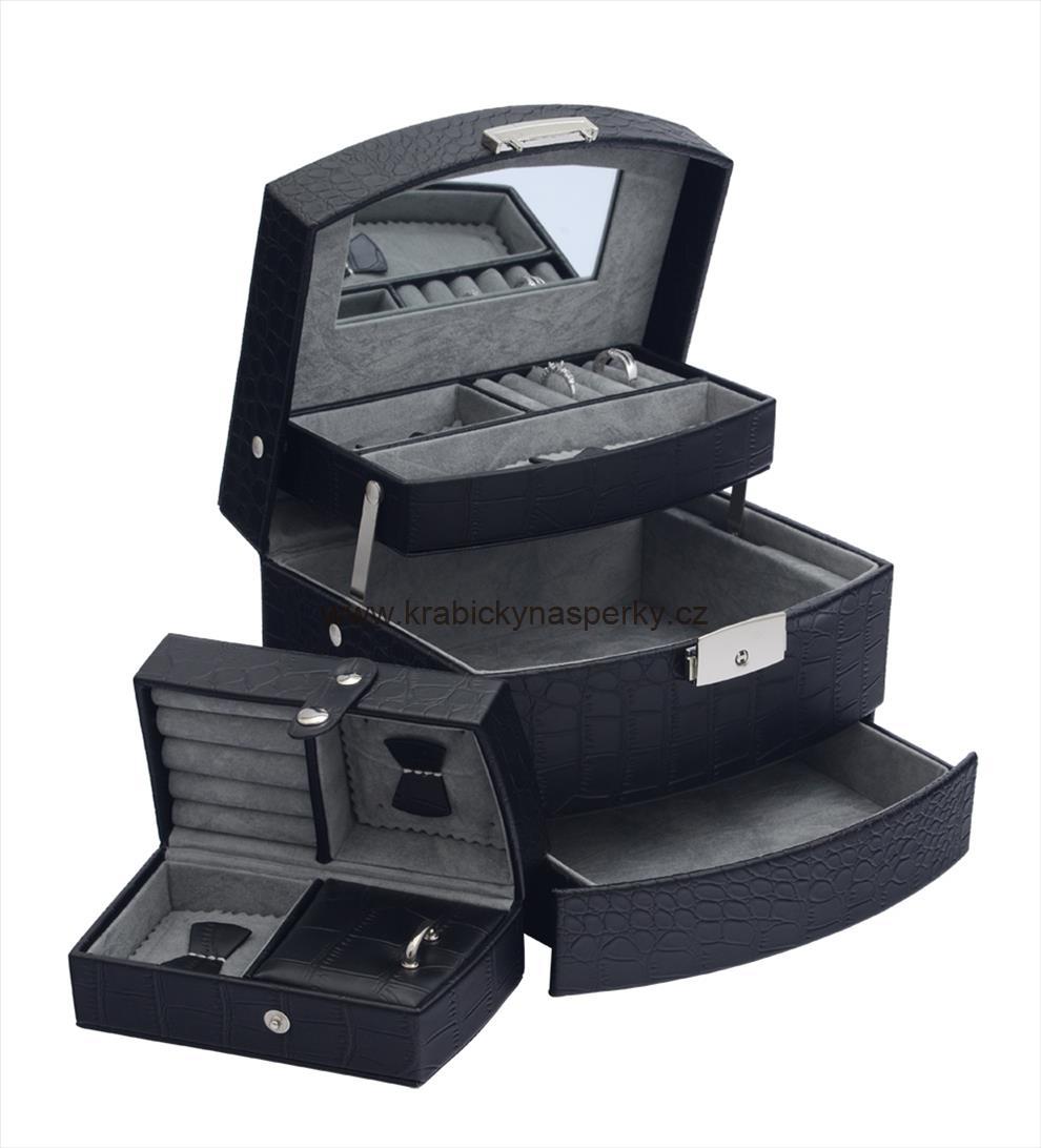 Luxusní třípatrová černá šperkovnice SP829-A25