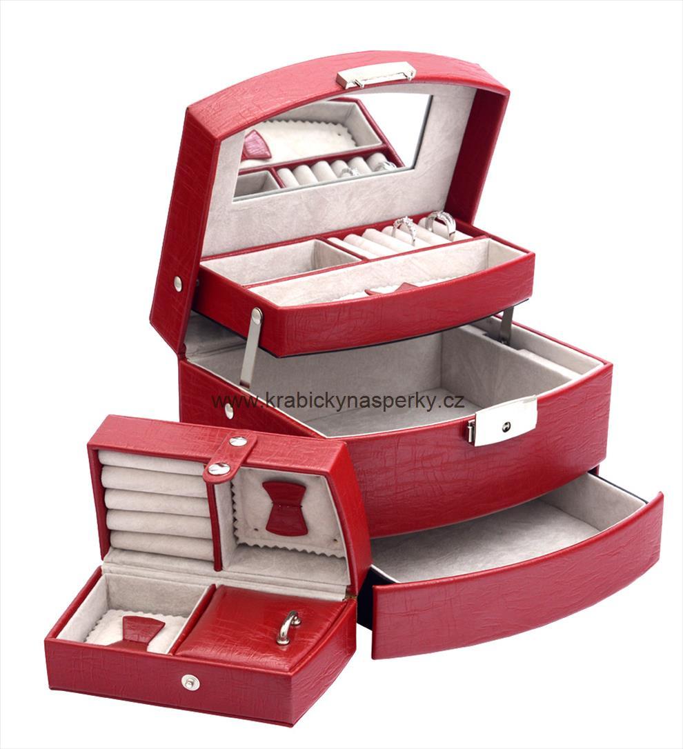 Luxusní třípatrová červená šperkovnice SP829-A7
