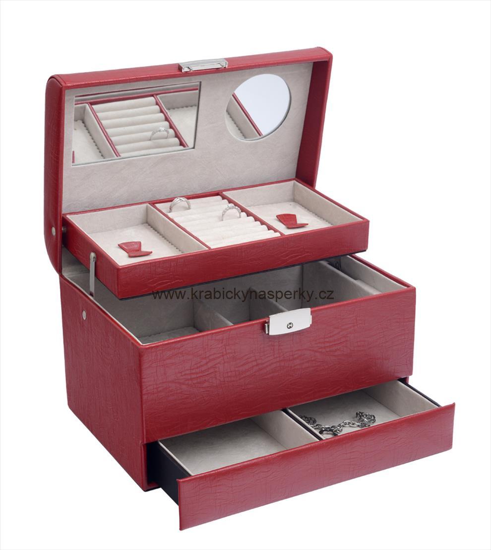 Elegantní třípatrová červená šperkovnice SP901-A7