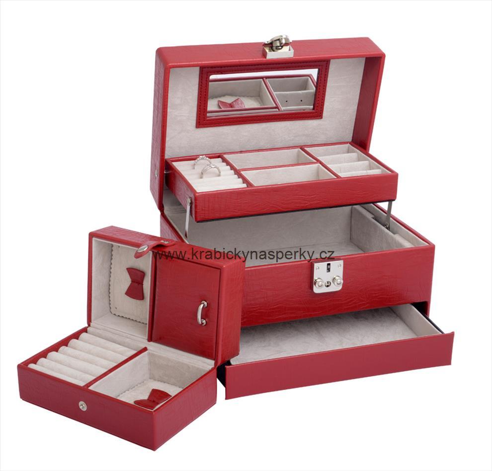 Luxusní třípatrová červená šperkovnice SP577-A7 POŠTOVNÉ ZDARMA!!