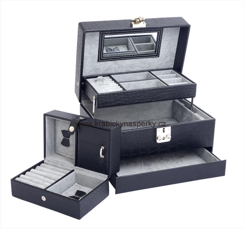 Luxusní třípatrová černá šperkovnice SP577-A25 POŠTOVNÉ ZDARMA!!