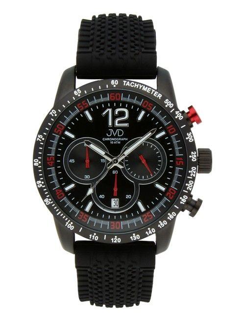 Pánské černé vodotěsné sportovní hodinky JVD chronograph J1102.1 - 10ATM POŠTOVNÉ ZDARMA!!
